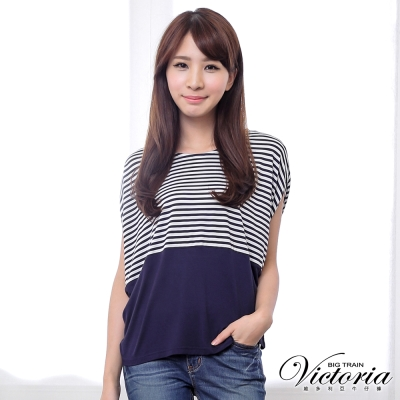 Victoria 條紋剪接寬鬆短袖T-女-藍白條