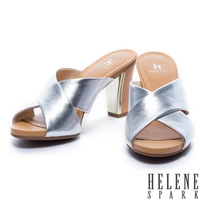 拖鞋 HELENE SPARK 簡約純色軟牛皮交叉字帶粗跟拖鞋-銀
