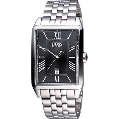 Hugo Boss 都會型男鋼帶腕錶-黑/33x40mm