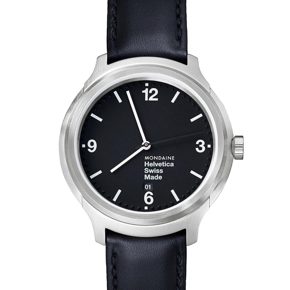 MONDAINE 瑞士國鐵Helvetica 聯名腕錶-黑/43mm