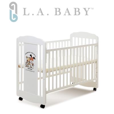 【美國 L.A. Baby】愛丁熊搖擺中小嬰兒床 原木床 童床 (白色)