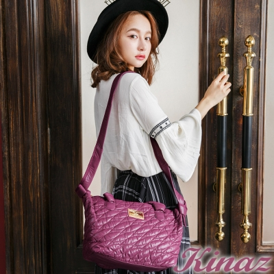 KINAZ-Ripple水波紋系列-時尚波紋柔軟2way包-晶鑽粉紫
