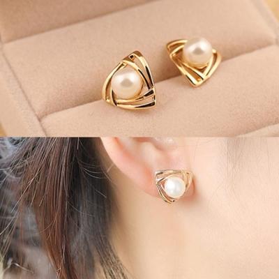 梨花HaNA-無耳洞漩渦色彩珍珠耳環夾式