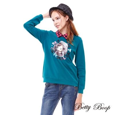 Betty Boop貝蒂 圓形印圖拼接格紋立領柔棉上衣(白色)