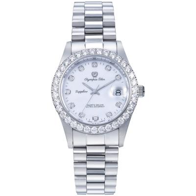 Olympia Star 奧林比亞之星 都會菁英 奢華晶鑽錶-銀/39mm