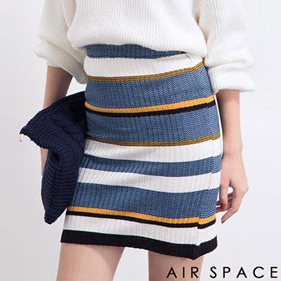 AIR-SPACE-韓國橫條高腰針織窄裙-藍