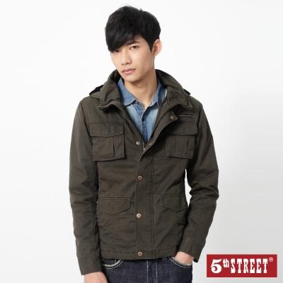 5th-STREET-帽可收舖棉軍裝外套-男-橄欖綠