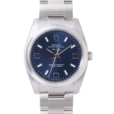 ROLEX 勞力士 AIR-KING 114200 蠔式恆動機械腕錶-藍/34mm