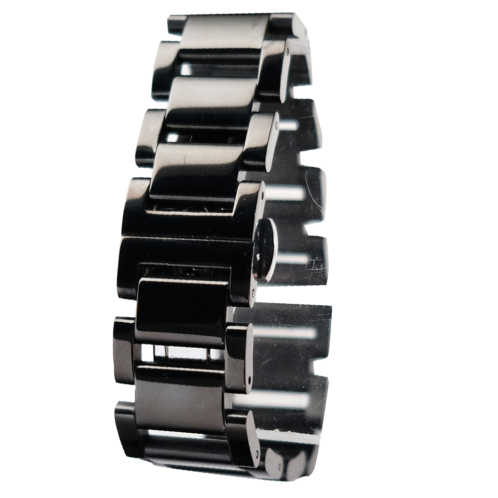 豪邁型男必備 20mm 亮黑鋼 進口精緻拋光 實心316L鋼帶 3排限量