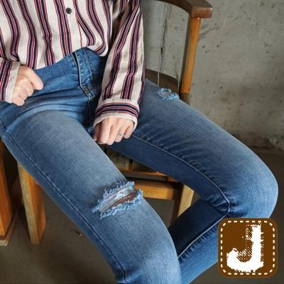 正韓-割破刷白緊身高腰長褲-藍色-100-Korea-Jeans