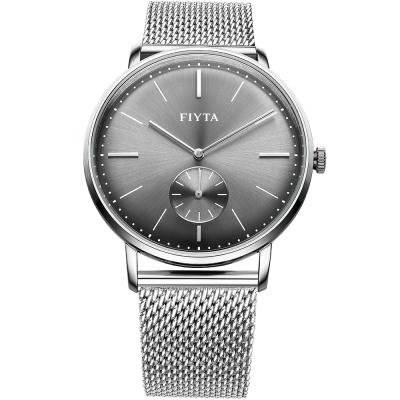 FIYTA飛亞達 卓雅系列復古造型石英錶款(WG800003.WHW)-黑色/42mm