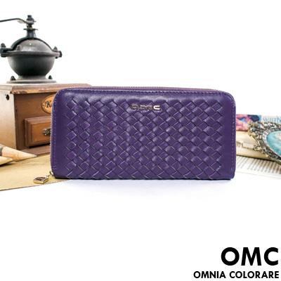 OMC - 韓國專櫃立體編織真皮單拉鍊長夾-羅蘭紫