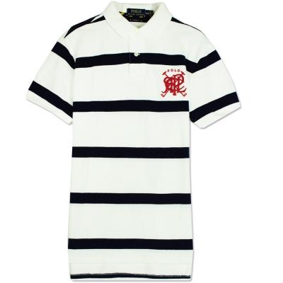 Ralph Lauren 疊字LOGO條紋POLO衫(黑白)