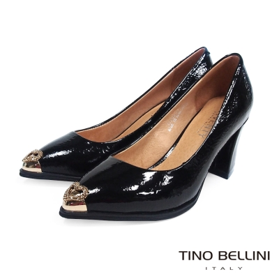 Tino-Bellini-摩登女郎心鑽CAP-TOE粗跟鞋-黑