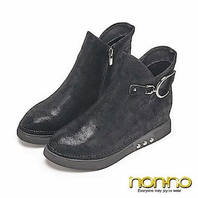 nonno霧感麂皮 金屬D字扣環配飾短靴-黑