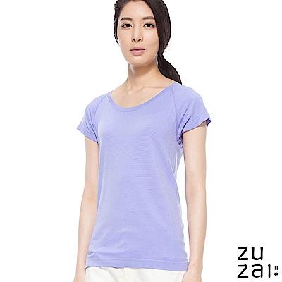 zuzai 自在舒涼快乾拉克蘭袖條紋上衣-女-紫色