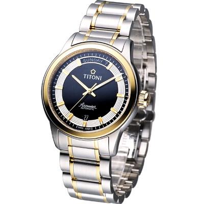 TITONI Airmaster系列 男用紳士機械腕錶-黑x雙色版/39mm