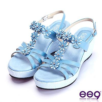 ee9 經典手工閃耀鑲嵌亮鑽魚口楔型跟涼鞋  藍色