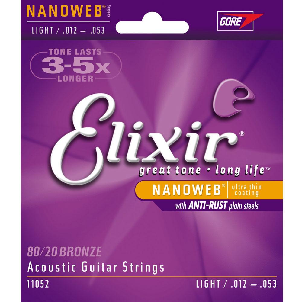 Elixir NANOWEB EXXF-11052 民謠吉他套弦 (12~53)