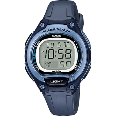 CASIO 卡西歐 10年電力輕巧運動手錶-藍/38mm