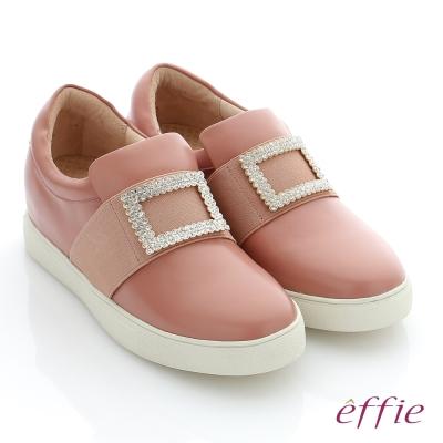 effie 彈力舒芙 真皮方形水鑽奈米機能休閒鞋 粉紅色