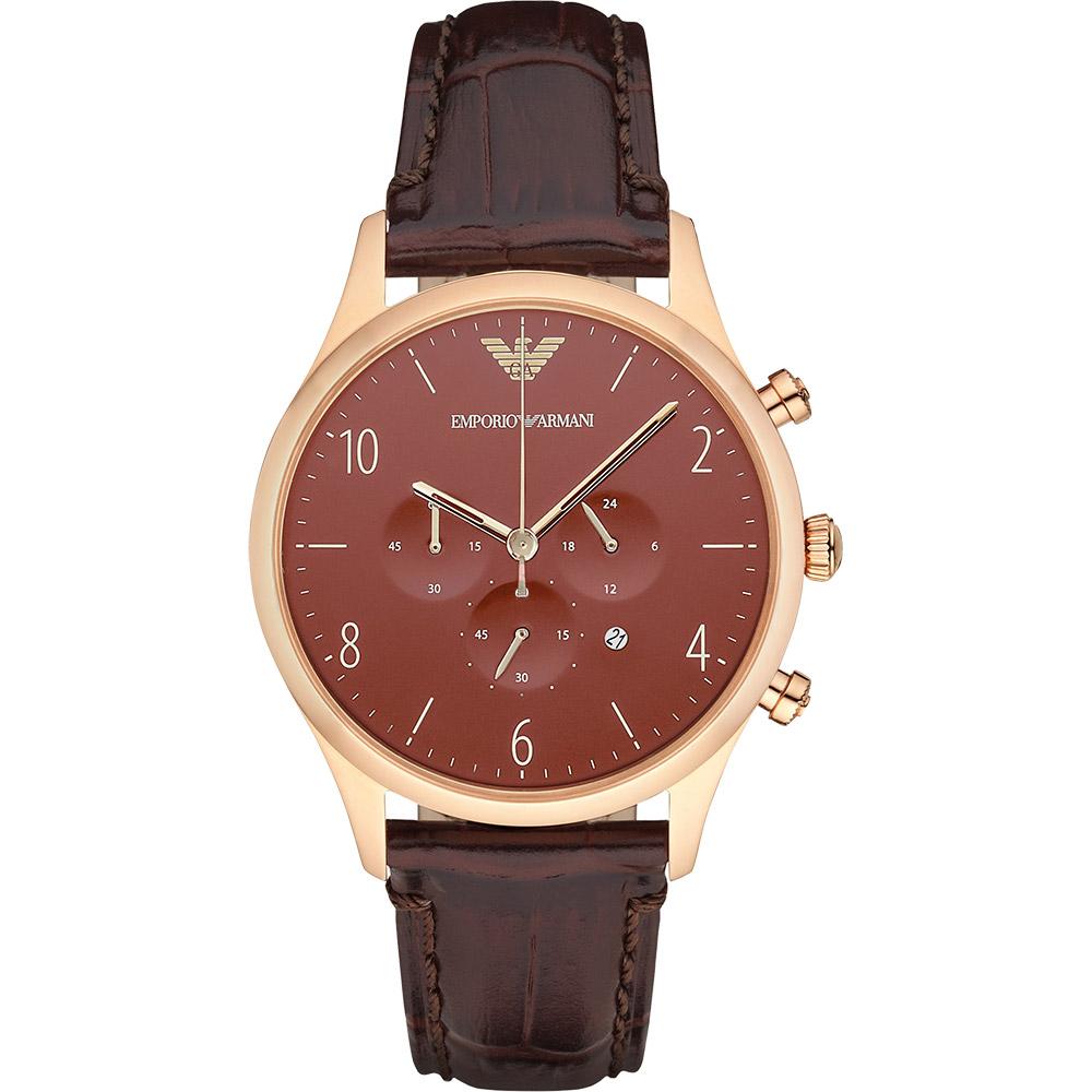 Emporio Armani Classic 復刻計時錶-咖啡X玫瑰金框/43mm