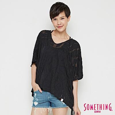SOMETHING 葉脈燒花寬版造型T恤-女-黑色
