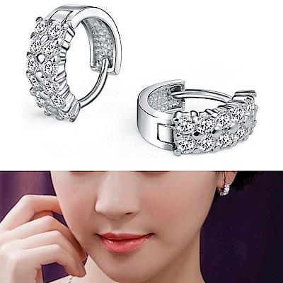 梨花HaNA 微鑲瑞士鑽925銀雙排圈飾耳環精裝版