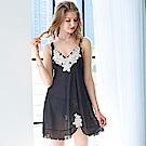 睡衣 微透彈力條紋紗性感睡衣(R76045-13性感黑) 蕾妮塔塔