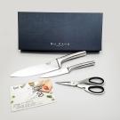 GUKANG一體成型不鏽鋼典藏四件組(馬背炳主廚刀、萬用刀、剪刀、吸鐵手工盒)