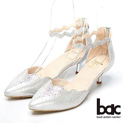 bac窈窕淑女-閃亮水鑽裝飾高跟美鞋-銀