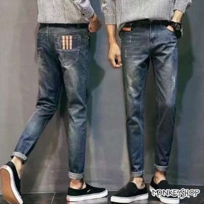 Monkey Shop  韓系微刮破後口袋三條紋造型牛仔褲
