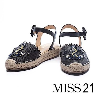 涼鞋 MISS 21 海軍風船錨圖案編織造型繫帶草編涼鞋-黑