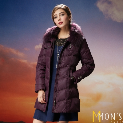 MONS-貉毛領連帽羽絨外套-共二色-紫紅