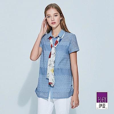 ILEY伊蕾 跳色領巾花朵幾何襯衫上衣(藍)