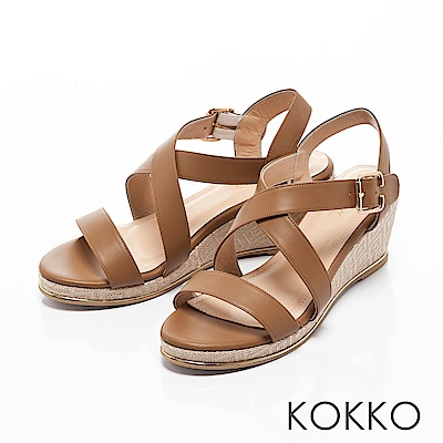 KOKKO-溫柔海風交叉帶真皮楔型涼鞋-自然棕