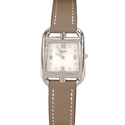 HERMES Cape Cod 愛馬仕小牛皮鋼水鑽珍珠貝錶面女仕腕錶(大象灰/21mm)