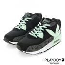 PLAYBOY 玩色潮流~線條拼接慢跑運動鞋-綠(女)
