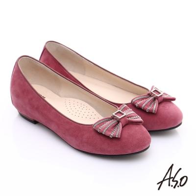 A.S.O 輕透美型 絨面羊皮蝴蝶結飾窩心平底鞋 桃粉紅