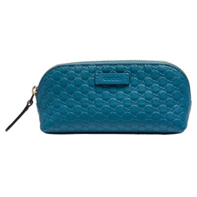 GUCCI 經典Guccissima GG壓紋牛皮拉鍊化妝包(藍綠色)