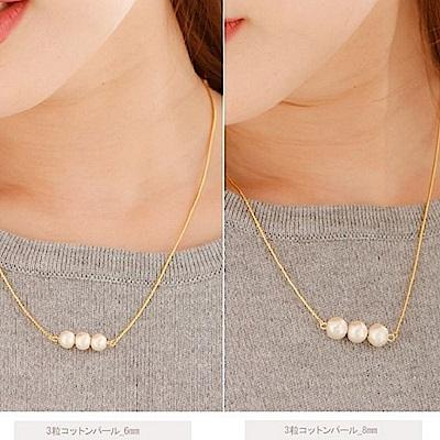 JewCas Cotton Pearl系列8mm棉珍珠3粒項鍊_JC2457-8