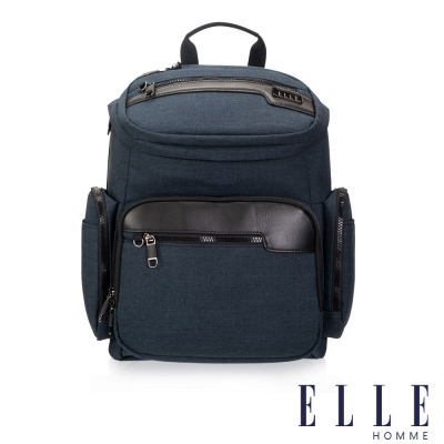 ELLE HOMME 精湛優雅紳士風範14吋筆電扣層極致機能後背包-深藍