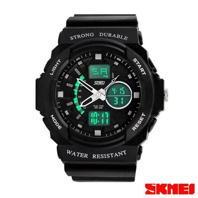 SKMEI時刻美 雙機芯多功能運動電子錶-銀指針