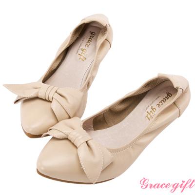 Grace gift-全真皮蝴蝶結摺疊娃娃鞋 杏