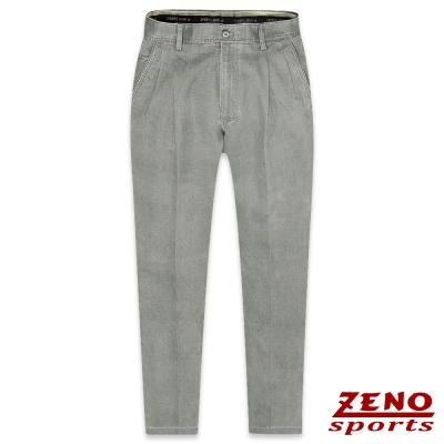 ZENO 簡約厚棉直紋打摺休閒褲‧灰綠30-42