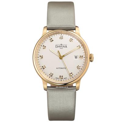 DAVOSA Glam Vanguard 先鋒系列超薄機腕錶-PVD金框x淺灰色/40mm