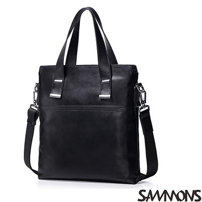 SAMMONS-真皮傑克斯簡約手提包-帥氣黑