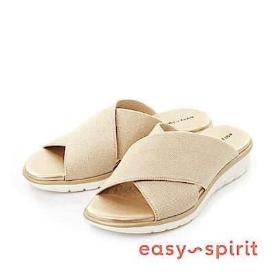 Easy Spirit--輕量交叉彈性布料魚口厚底涼拖鞋-質感金