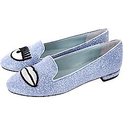 Chiara Ferragni Flirting 刺繡眨眼唇亮片樂福鞋(薄霧藍)