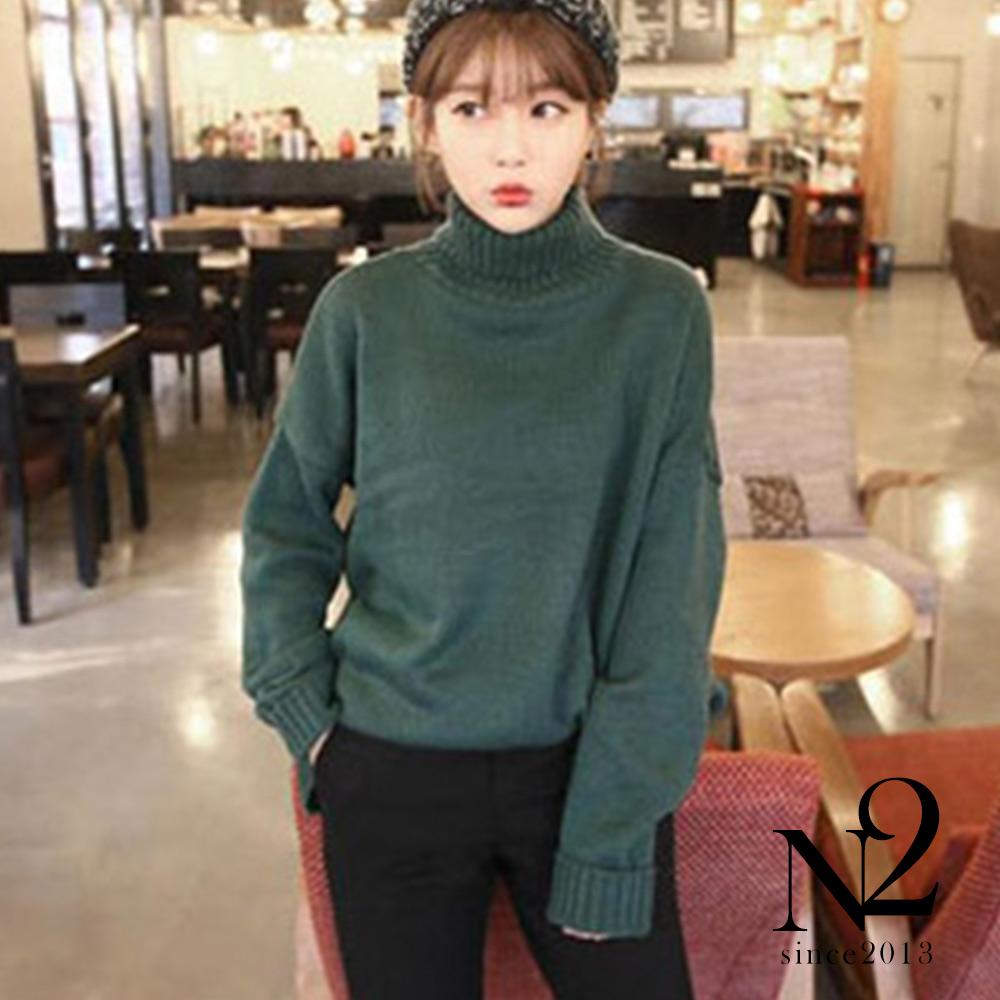 上衣 純色高領寬鬆蝙蝠袖針織毛衣(綠) N2